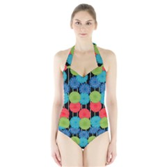 Vibrant Retro Pattern Halter Swimsuit