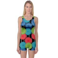 Vibrant Retro Pattern One Piece Boyleg Swimsuit