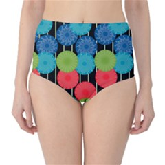 Vibrant Retro Pattern High-Waist Bikini Bottoms