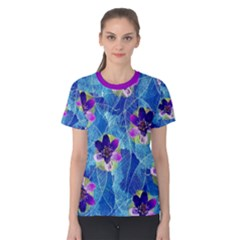 Purple Flowers Women s Cotton Tee