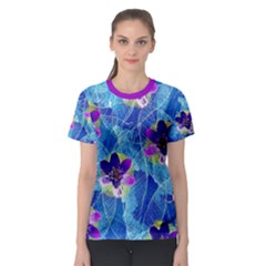 Purple Flowers Women s Sport Mesh Tee