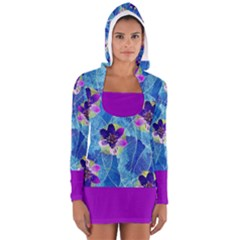 Purple Flowers Women s Long Sleeve Hooded T Shirt