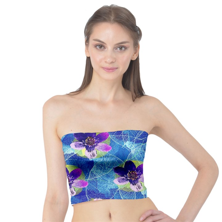 Purple Flowers Tube Top