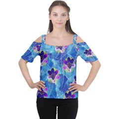 Purple Flowers Women s Cutout Shoulder Tee