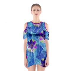 Purple Flowers Women s Cutout Shoulder One Piece