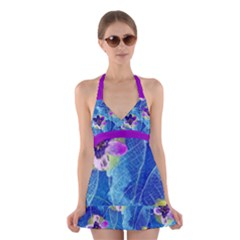 Purple Flowers Halter Swimsuit Dress