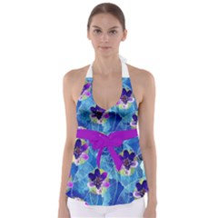 Purple Flowers Babydoll Tankini Top