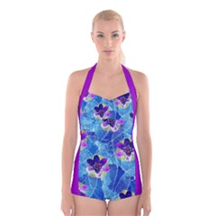 Purple Flowers Boyleg Halter Swimsuit
