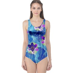 Purple Flowers One Piece Swimsuit