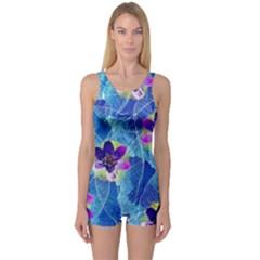 Purple Flowers One Piece Boyleg Swimsuit