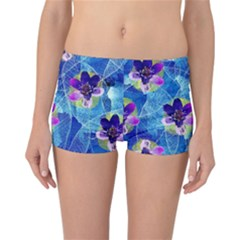 Purple Flowers Reversible Boyleg Bikini Bottoms