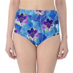 Purple Flowers High-Waist Bikini Bottoms