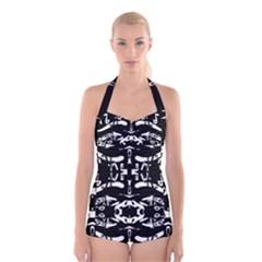 May 9 2016 100hhhl Kl; Boyleg Halter Swimsuit