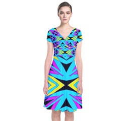 Art Off Wall Short Sleeve Front Wrap Dress