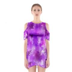 Purple Splatter Pattern Cutout Shoulder Dress