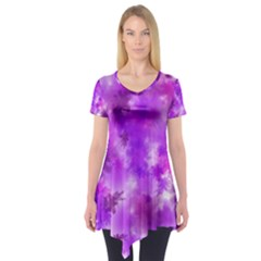 Purple Splatter Pattern Short Sleeve Tunic