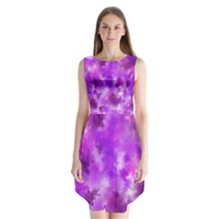 Purple Splatter Pattern Sleeveless Chiffon Dress