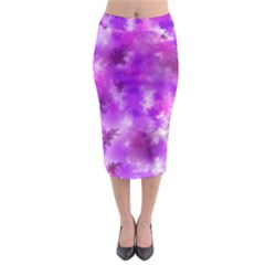Purple Splatter Pattern Midi Pencil Skirt