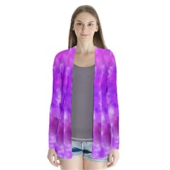 Purple Splatter Pattern Drape Collar Cardigan
