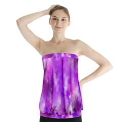 Purple Splatter Pattern Strapless Top