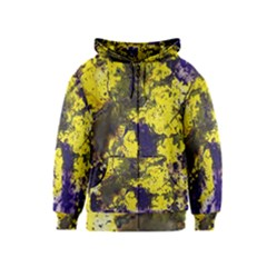 Yellow And Purple Splatter Paint Pattern Kids  Zipper Hoodie