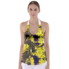 Yellow And Purple Splatter Paint Pattern Babydoll Tankini Top