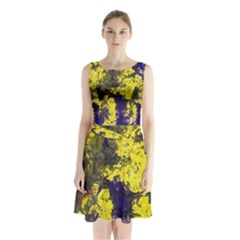 Yellow And Purple Splatter Paint Pattern Sleeveless Chiffon Waist Tie Dress