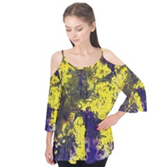 Yellow And Purple Splatter Paint Pattern Flutter Tees