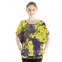 Yellow And Purple Splatter Paint Pattern Blouse