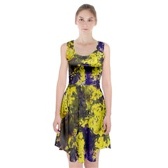 Yellow And Purple Splatter Paint Pattern Racerback Midi Dress