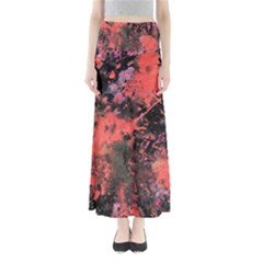 Pink And Black Abstract Splatter Paint Pattern Maxi Skirts