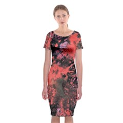 Pink And Black Abstract Splatter Paint Pattern Classic Short Sleeve Midi Dress