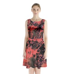 Pink And Black Abstract Splatter Paint Pattern Sleeveless Chiffon Waist Tie Dress