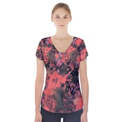 Pink And Black Abstract Splatter Paint Pattern Short Sleeve Front Detail Top