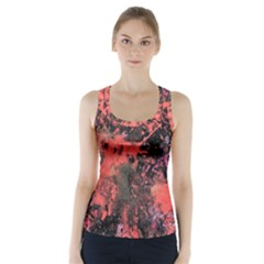 Pink And Black Abstract Splatter Paint Pattern Racer Back Sports Top