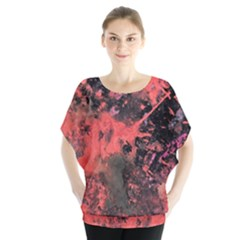 Pink And Black Abstract Splatter Paint Pattern Blouse