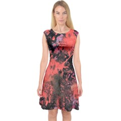Pink And Black Abstract Splatter Paint Pattern Capsleeve Midi Dress