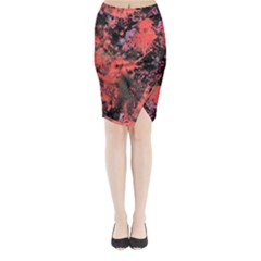 Pink And Black Abstract Splatter Paint Pattern Midi Wrap Pencil Skirt