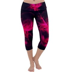 Pink Flame Fractal Pattern Capri Yoga Leggings