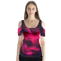 Pink Flame Fractal Pattern Butterfly Sleeve Cutout Tee