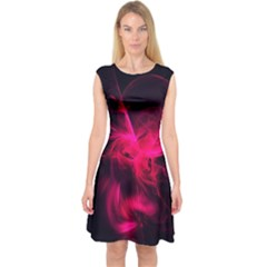 Pink Flame Fractal Pattern Capsleeve Midi Dress