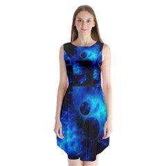 Blue Universe Fractal Pattern Sleeveless Chiffon Dress