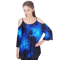Blue Universe Fractal Pattern Flutter Tees