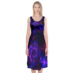 Pink, Red And Blue Swirl Fractal Midi Sleeveless Dress