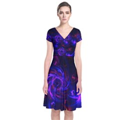 Pink, Red And Blue Swirl Fractal Short Sleeve Front Wrap Dress