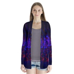 Pink, Red And Blue Swirl Fractal Drape Collar Cardigan