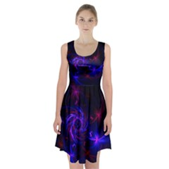 Pink, Red And Blue Swirl Fractal Racerback Midi Dress