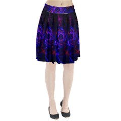 Pink, Red And Blue Swirl Fractal Pleated Skirt
