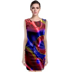 Pink Blue And Red Globe Classic Sleeveless Midi Dress