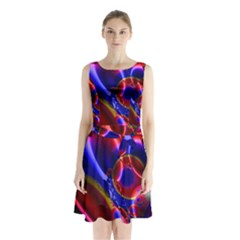 Pink Blue And Red Globe Sleeveless Chiffon Waist Tie Dress
